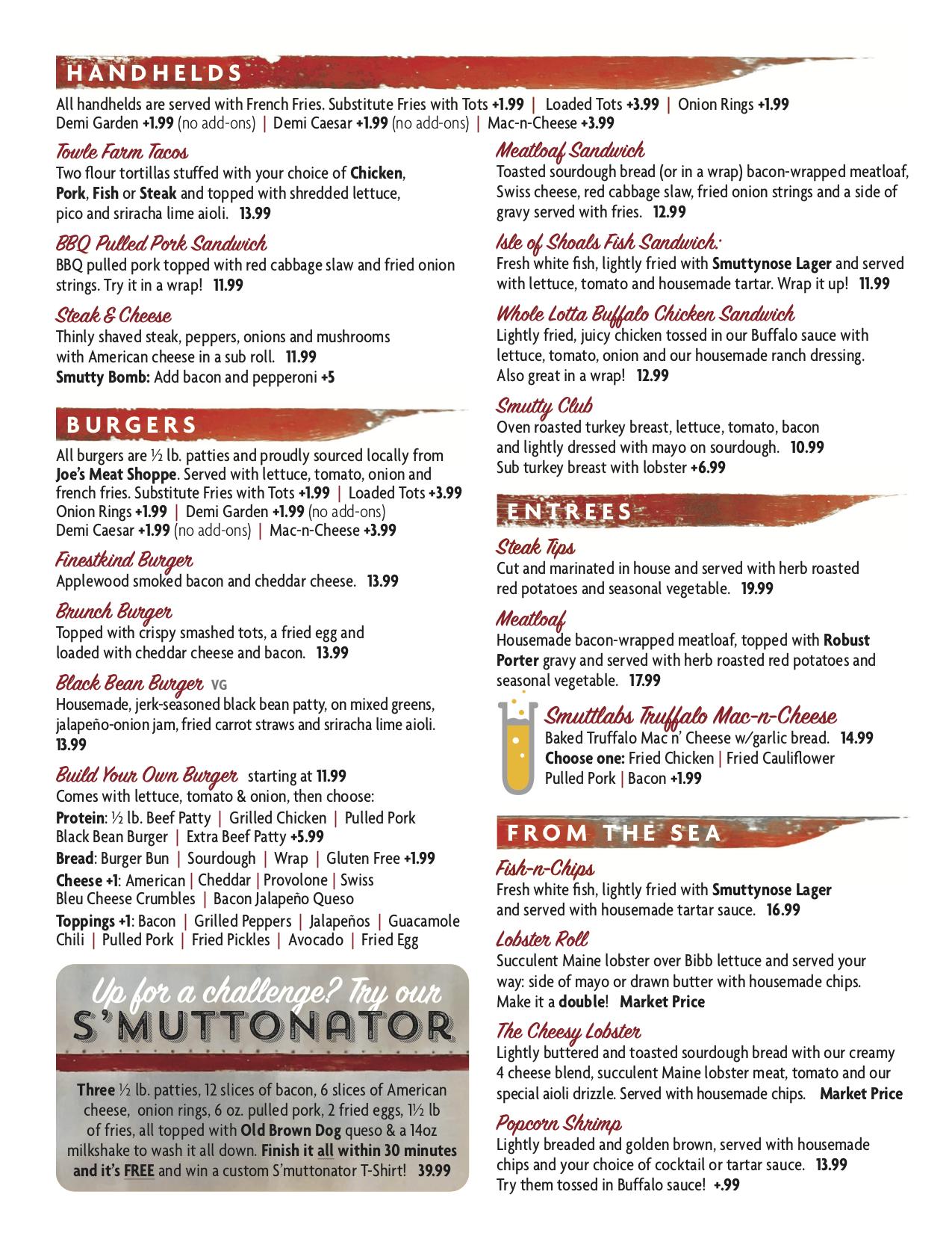 Smuttynose Restaurant Menu 2020 Nov4pg2